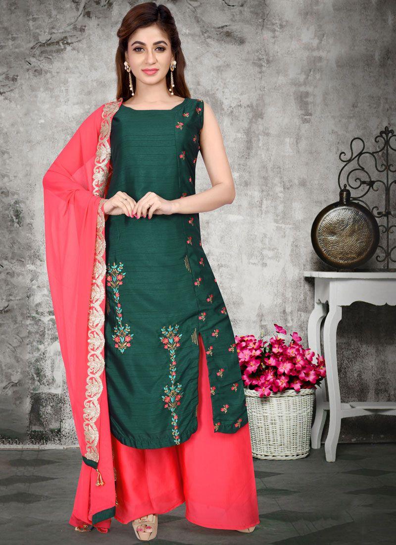 Art Silk Green Readymade Suit