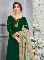 Art Silk Green Resham Designer Pakistani Suit