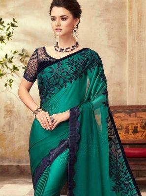 Art Silk Green Resham Traditional Saree