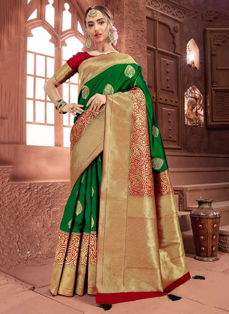 Art Silk Green Traditional Saree