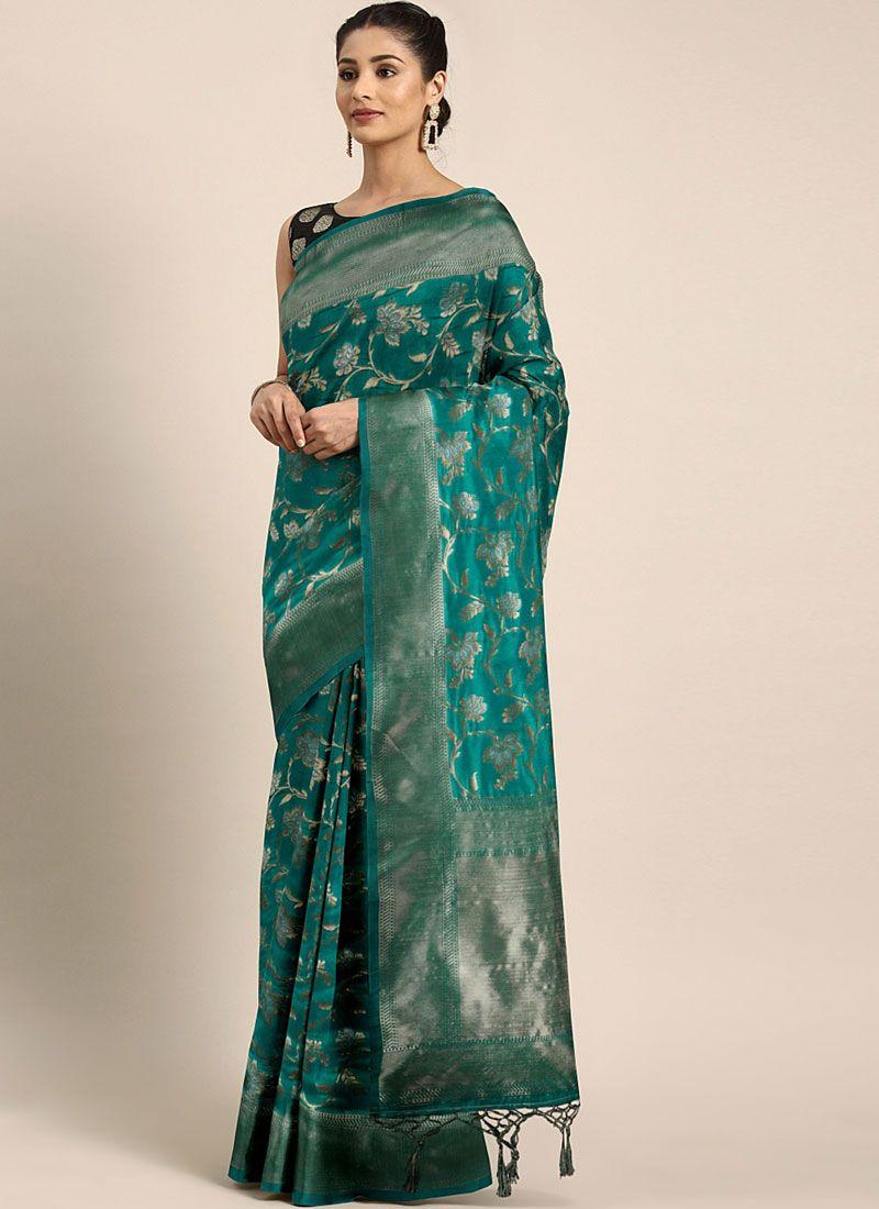 Art Silk Green Weaving Classic Saree