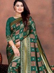 Art Silk Green Weaving Designer Traditional Saree