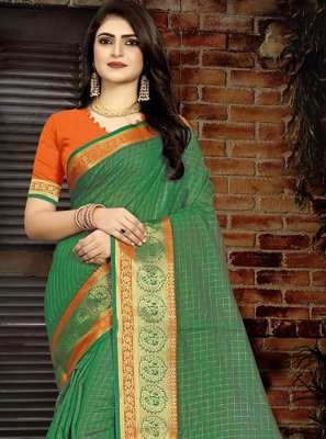 Art Silk Green Weaving Designer Traditional Saree