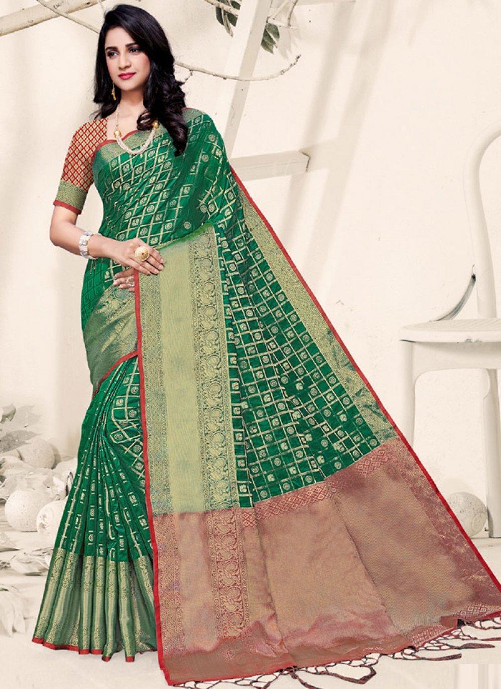 Art Silk Green Weaving Traditional Designer Saree