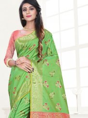 Art Silk Green Weaving Traditional Designer Saree