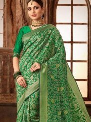 Art Silk Green Weaving Traditional Saree