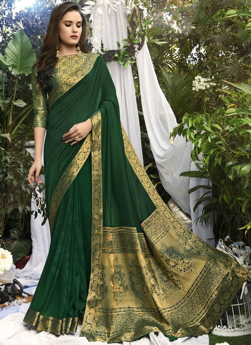 Art Silk Green Woven Designer Traditional Saree