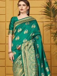 Art Silk Green Woven Traditional Saree