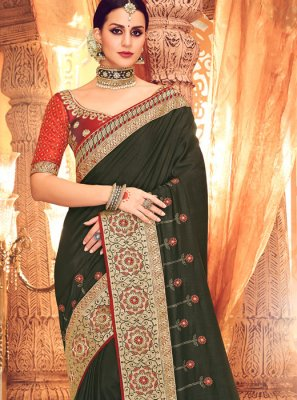 Art Silk Green Zari Designer Saree