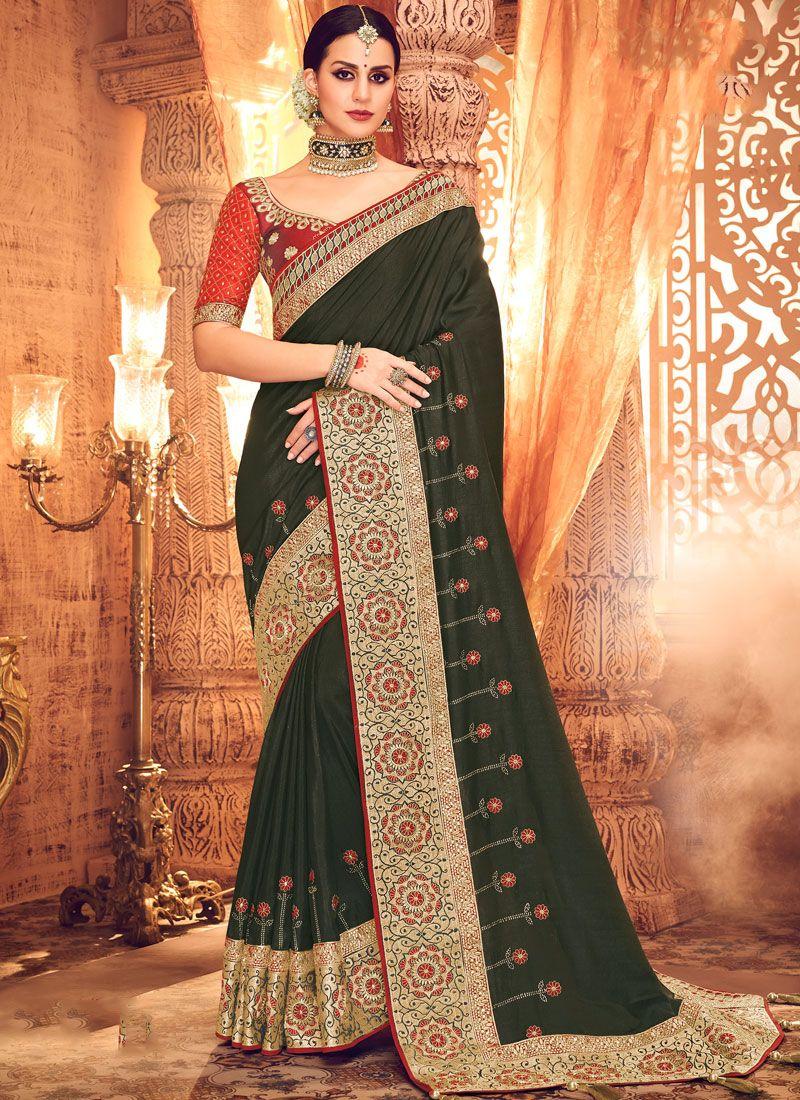 Art Silk Green Zari Designer Saree