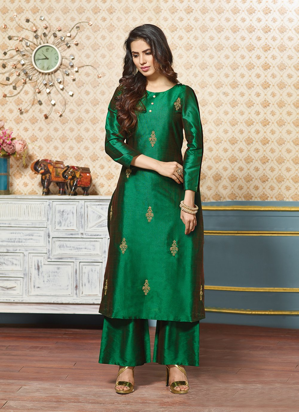 Art Silk Green Zari Party Wear Kurti