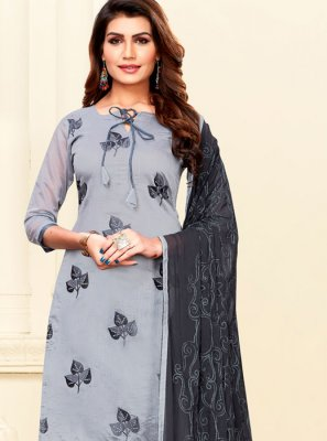 Art Silk Grey Churidar Salwar Kameez
