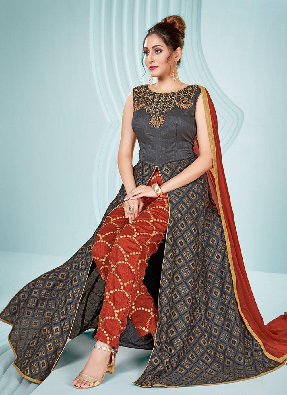 Art Silk Grey Embroidered Designer Palazzo Salwar Suit