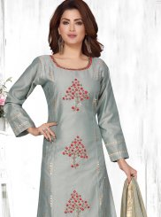 Art Silk Grey Embroidered Designer Suit