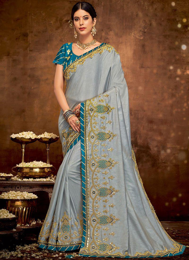 Art Silk Grey Embroidered Designer Traditional Saree