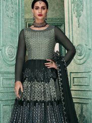 Art Silk Grey Embroidered Floor Length Anarkali Suit