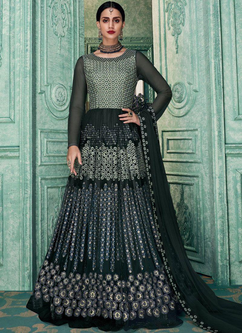 Art Silk Grey Embroidered Floor Length Anarkali Suit