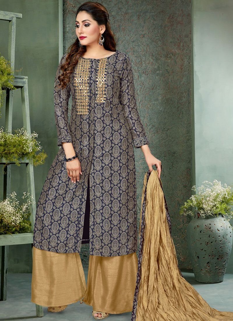 Art Silk Grey Embroidered Readymade Suit