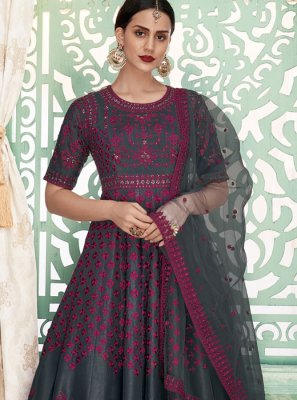 Art Silk Grey Floor Length Anarkali Suit