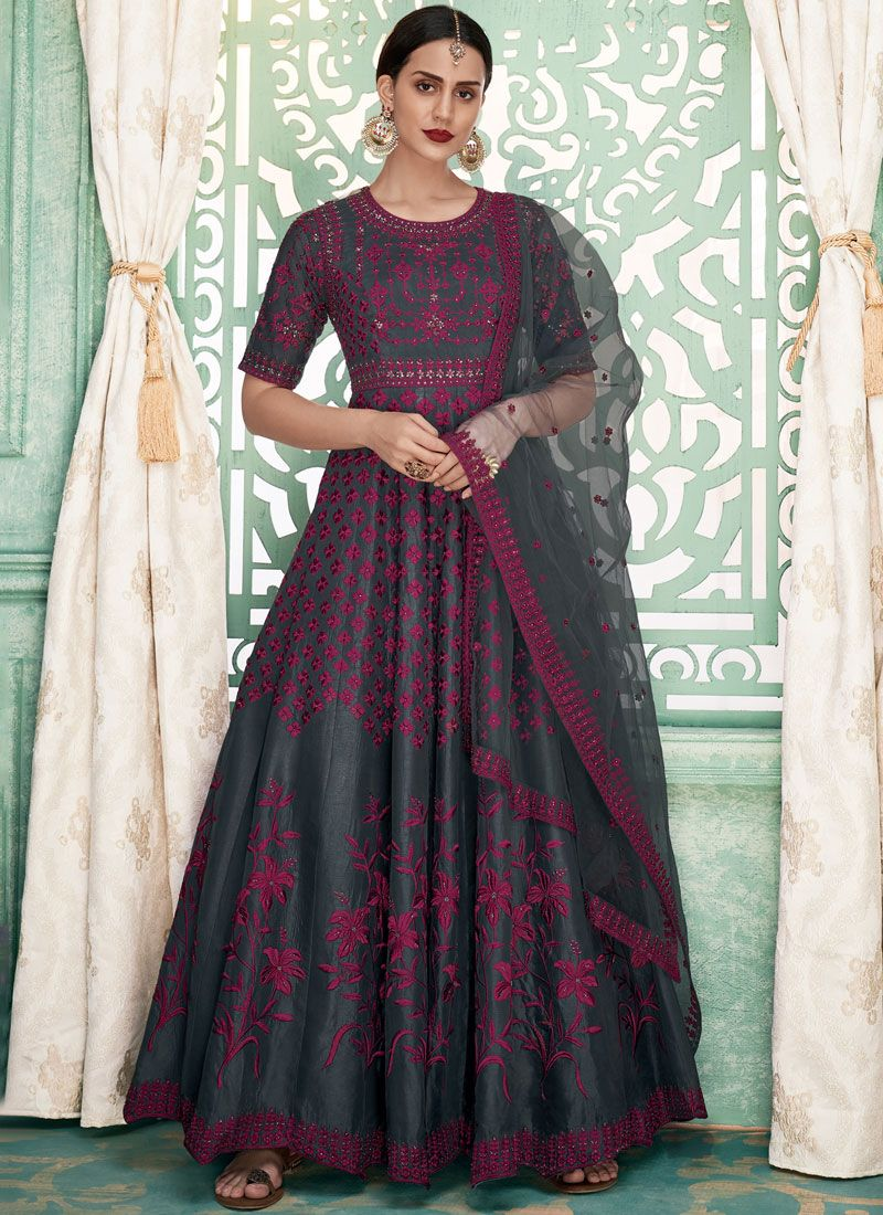 Art Silk Grey Floor Length Anarkali Suit