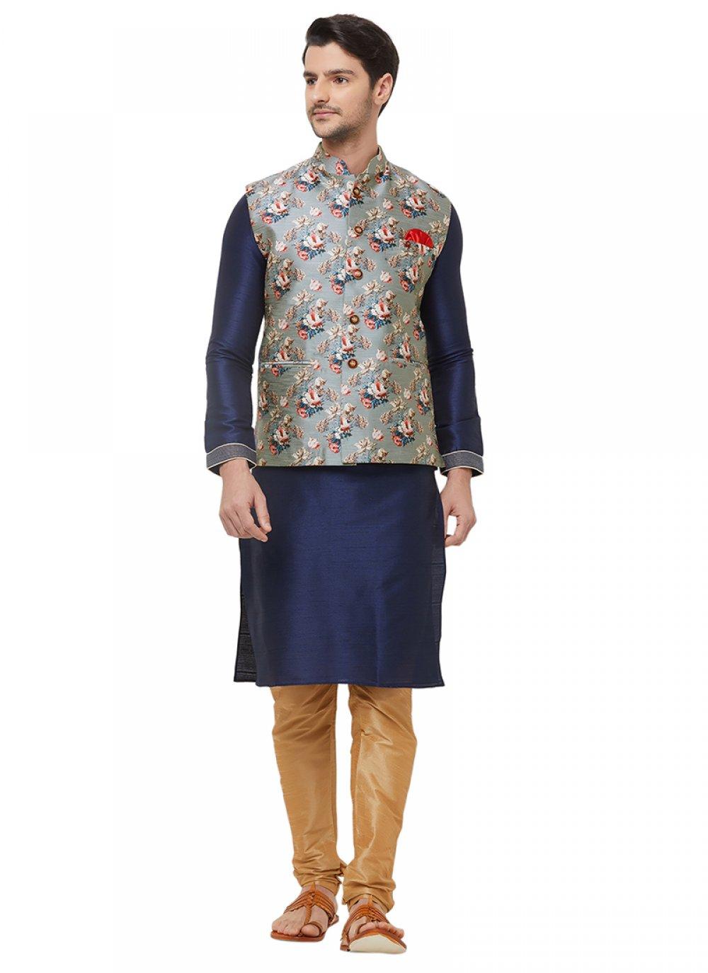 Art Silk Grey Paisley Print Nehru Jackets