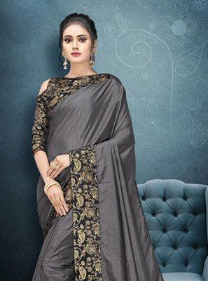 Art Silk Grey Patch Border Traditional Saree