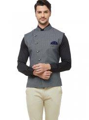Art Silk Grey Print Nehru Jackets