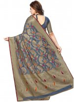 Art Silk Grey Weaving Traditional Designer Saree