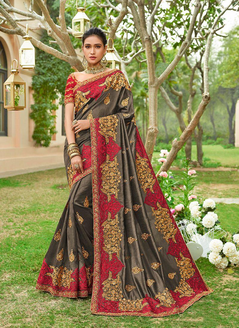 Art Silk Grey Zari Designer Saree