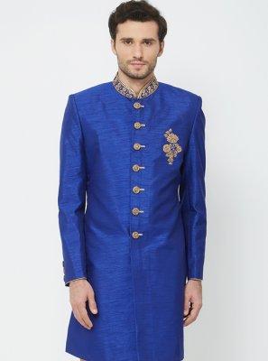 Art Silk Handwork Navy Blue Sherwani