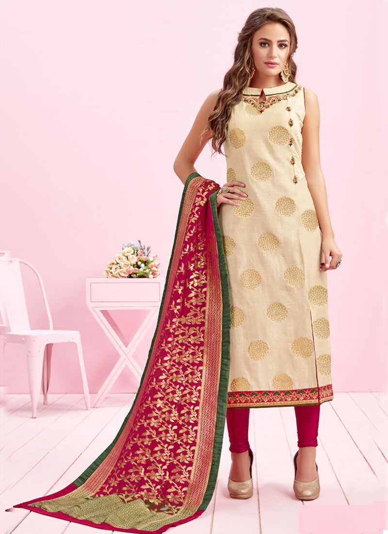 Art Silk Handwork Readymade Suit