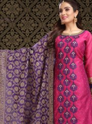Art Silk Hot Pink Churidar Designer Suit