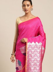 Art Silk Hot Pink Designer Traditional Saree
