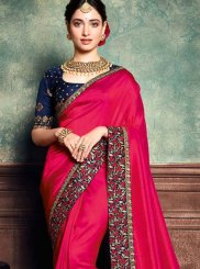 Art Silk Hot Pink Embroidered Classic Saree