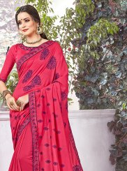 Art Silk Hot Pink Embroidered Designer Traditional Saree