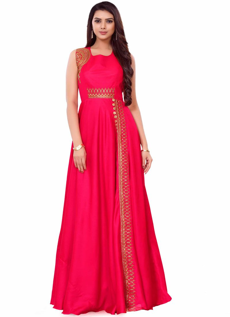 Art Silk Hot Pink Embroidered Readymade Gown