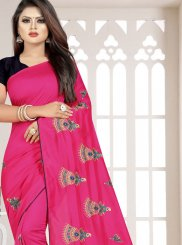 Art Silk Hot Pink Resham Casual Saree