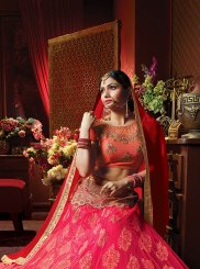 Art Silk Hot Pink Resham Lehenga Choli