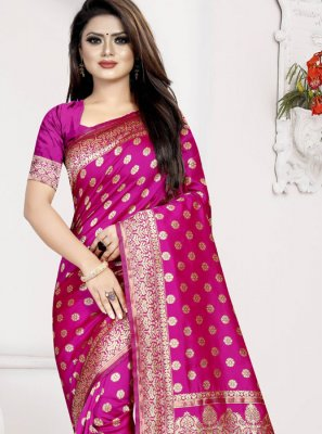 Art Silk Hot Pink Traditional Designer Saree