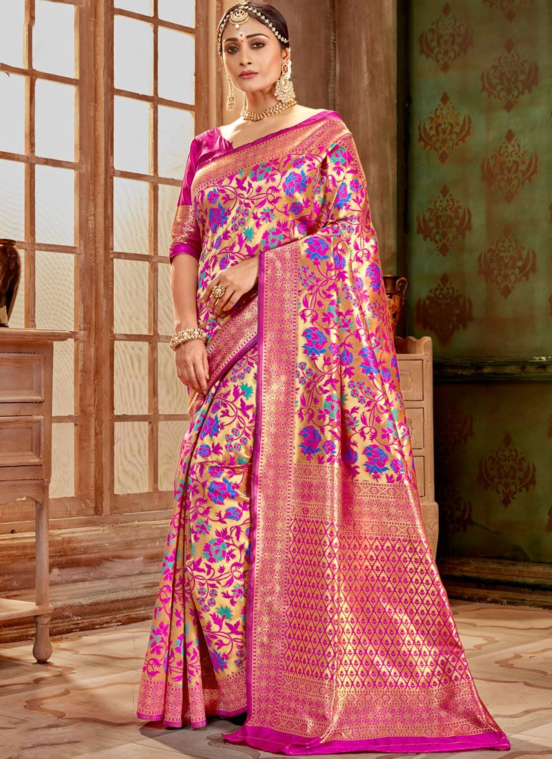 Art Silk Hot Pink Weaving Designer Traditional Saree