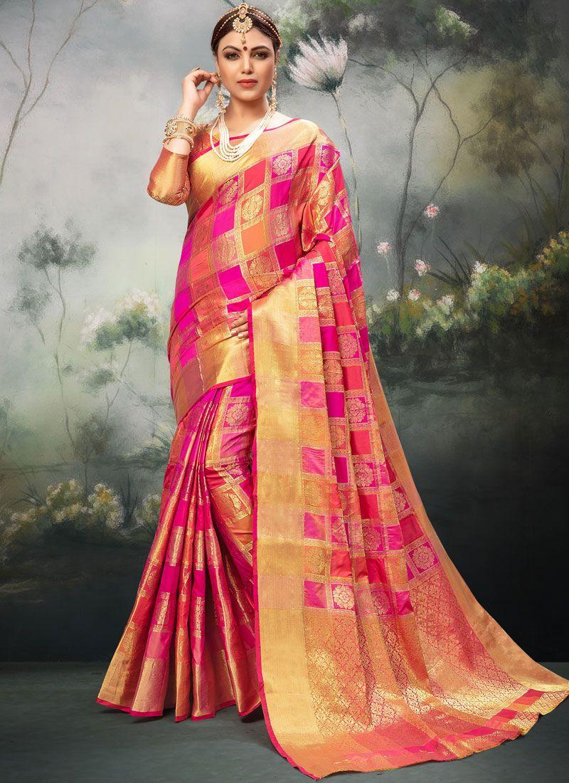 Art Silk Hot Pink Weaving Traditional Designer Saree