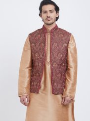 Art Silk Kurta Payjama With Jacket in Gold
