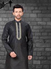Art Silk Kurta Pyjama in Black