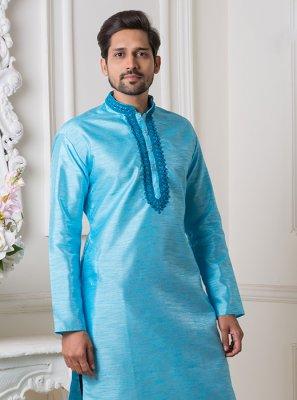 Art Silk Kurta Pyjama in Blue