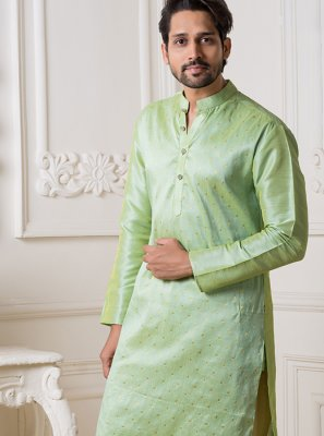 Art Silk Kurta Pyjama in Green