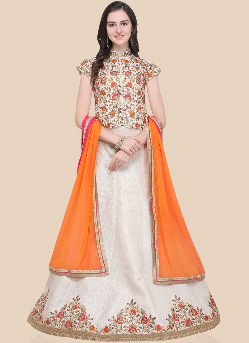 Art Silk Lace Cream Lehenga Choli