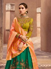 Art Silk Lace Green Lehenga Choli