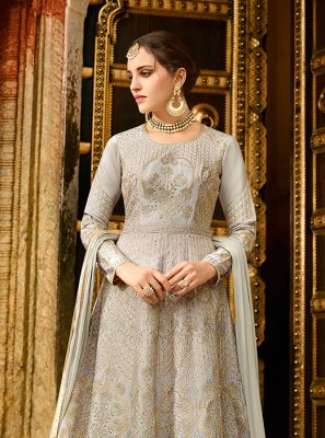 Art Silk Lace Grey Floor Length Anarkali Suit