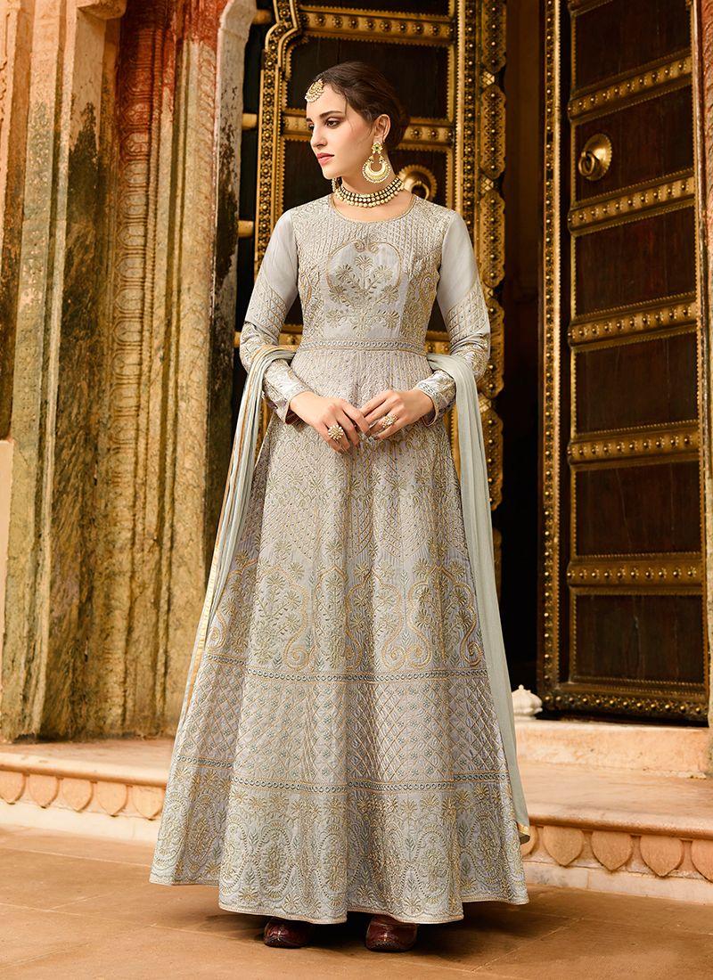 Art Silk Lace Grey Floor Length Anarkali Suit
