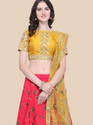 Art Silk Lace Hot Pink Lehenga Choli